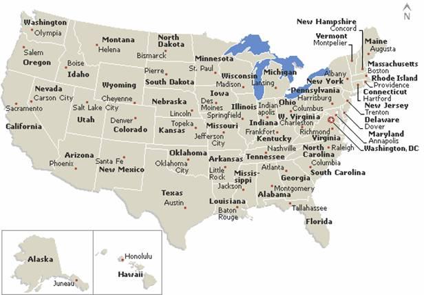 Cartina Stati Uniti Damerica Con Capitali.Geografia